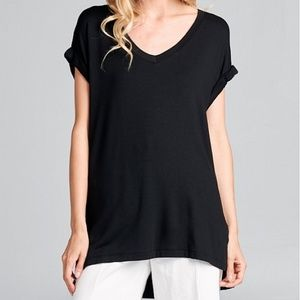 Black long v-neck with side slits cuffed sleeves